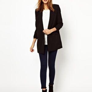 WAREHOUSE Long Black Blazer Size 2
